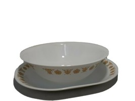 Vintage CORELLE Livingware GOLD BUTTERFLY Serving Bowl & Plate Replacement  - $22.30
