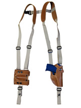 Barsony Tan Leather Shoulder Holster Mag Pouch Kel-Tec Taurus Sccy Ultra Compact - $109.99