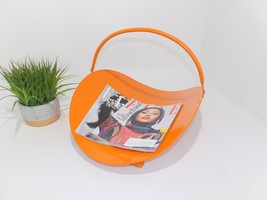 Fireplace Wood Holder Scuttle Throw Blanket Orange Magazine Rack Mid Cen... - $65.00