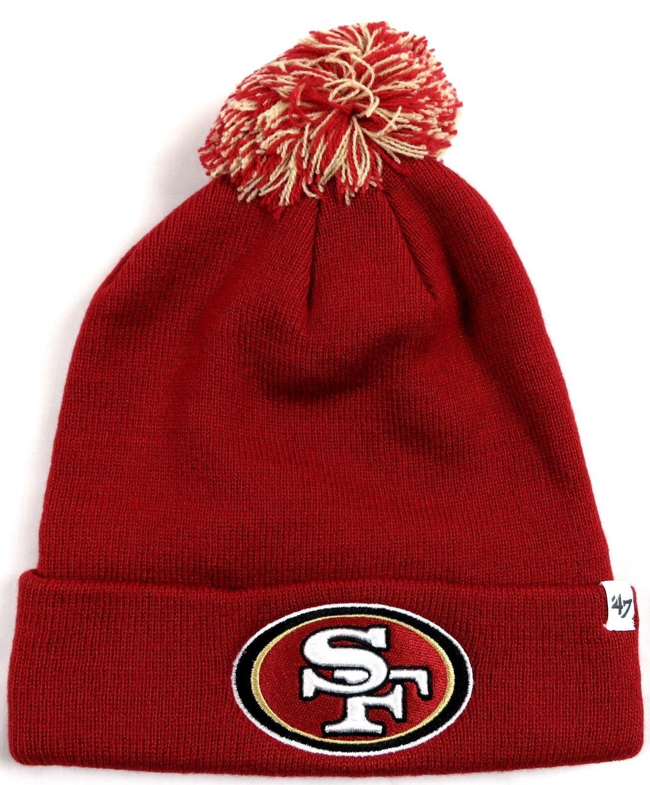 San Francisco 49ers Raised Knit Cuff Pom Hat NFL Men's Beanie One Size