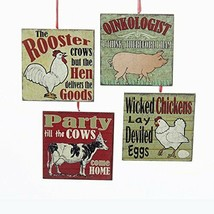 KURT ADLER SET OF 4 FARM ANIMAL THEME SQUARE WOOD PLAQUE XMAS ORNAMENTS ... - $22.88