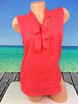 Ann Taylor Womens Top Blouse Neon Orange Peach Sleeveless Sz S Small Tun... - $19.30