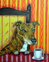 GREYHOUND dog art set of 4 notecards JSCHMETZ coffee - $25.00
