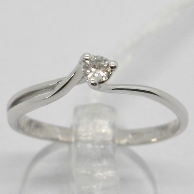 WHITE GOLD RING 750 18K, SOLITAIRE WITH DIAMOND CARAT 0.07, CRISS CROSSED, ITALY