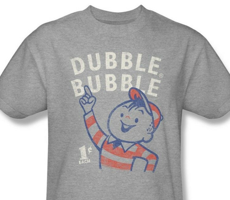 Dubble Bubble T-shirt retro 1980's vintage distressed heather grey tee DBL105