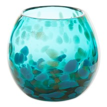 "Contemporary Aquamarine Art Glass Bowl Vase or use as Decorative Piece 4"" High - $28.95"