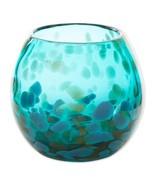 Contemporary Aquamarine Art Glass Bowl Vase or use as Decorative Piece 4... - $28.95