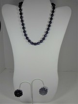 Hobe Faceted Blue Glass Bead Necklace & Clip On Earrings - $34.64