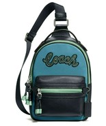COACH Vale Slingpack Cerulean Blue Leather & Nylon Campus Sling F76728 M... - $118.79