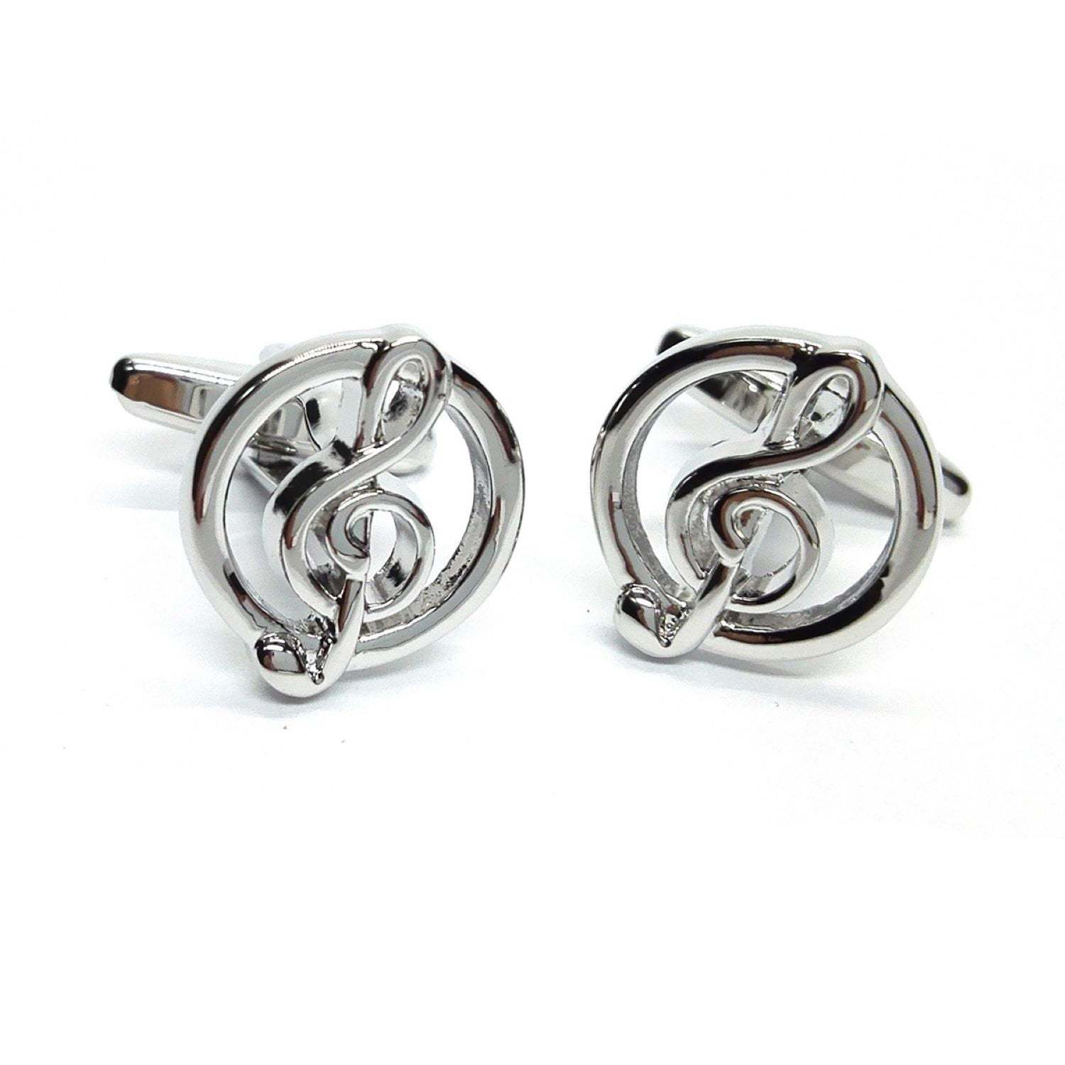 Treble Clef in Circle  music theme cufflinks gift boxed
