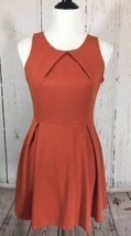 Alythea Size Medium Orange Sleeveless Dress Pleated Skirt Stretch Knit - $20.09
