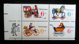 6 cent 1970 Scott # 1415 - 1418 Christmas Toys USPS 4 Stamp Block MNH XF OG - $4.35