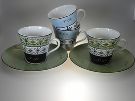 Spode Cafe Archive Collection 2 Green Cups & Saucer And 2 Blue Cups Made in UK  - $30.81