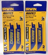 "Irwin 372414P2 4"" x 14TPI Bi-Metal Reciprocating Saw Blades USA 2 Packs ... - $3.96"
