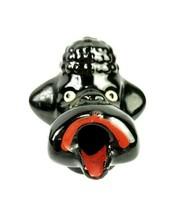 Vintage 1950s Black Poodle Japan Pottery Dog Ashtray Open Mouth Kitschy  - $8.42