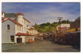 Washington Street Cars Sonora California 50s postcard - $3.96