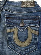 True Religion Women's Denim Jeans Joey Leather Pocket 83 - Med Savana 10503VNL image 5