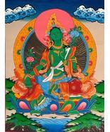 Hand-painted Green Tara Tibetan Thangka Art on Canvas, 12 x 15-Inch - $66.00