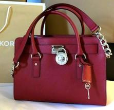 Michael Kors Hamilton Chili Red Silver Saffiano Leather Ew Satchel Bag *Nwt* - $229.00