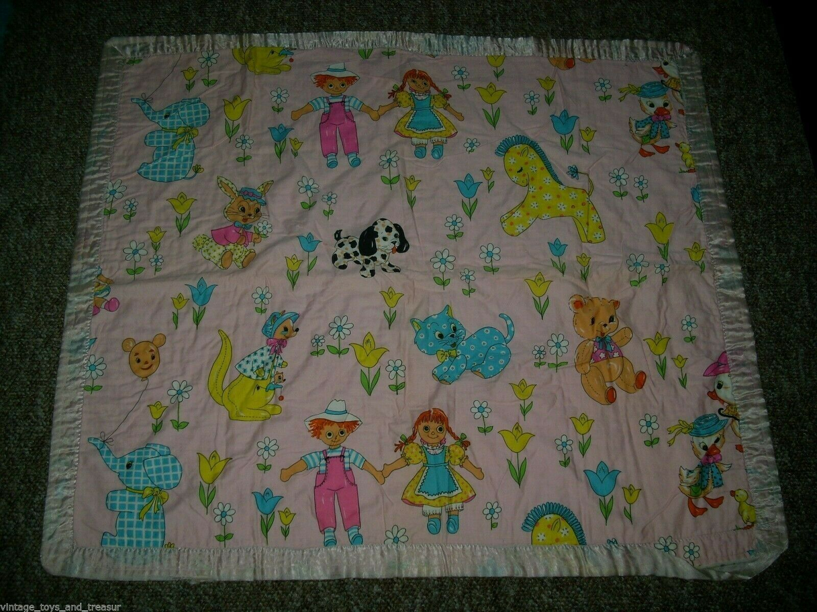 Primary image for VNTAGE ANTIQUE BABY SECURITY BLANKET ANIMALS DOG CAT ELEPHANT BEDDING SATIN TRIM
