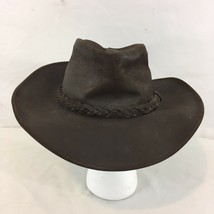 Henschel Hat Co USA HH Medium Brown Distressed Leather Outback Cowboy Hat - $28.71