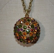ROSA FLORES Gold Tone Large Multi-Color Rhinestone Ball Pendant Necklace - $29.70