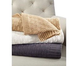RALPH LAUREN DIAMOND KNIT THROW BLANKET 100% TRICOT COTTON charcoal 50x70 - $79.51