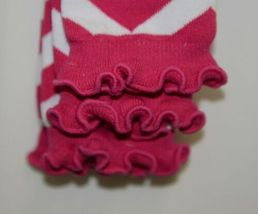 Ruffle Butts Infant Toddler Leg Warmers Fuchsia White Chevron Stripe One Size image 3