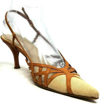 Nine West Beige Canvas/ Lt. Tan Strappy Leather Pointy Toe Slingback Shoes 6M - $34.61