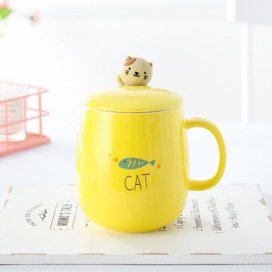 Yellow Cat Mug Big Belly Cup Ceramic Coffee Milk Tea Cup + Cover + Spoon