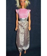 Vintage 80s Barbie 2 pc Outfit Pink Top Silver Genie Style Overall Pants - $15.43