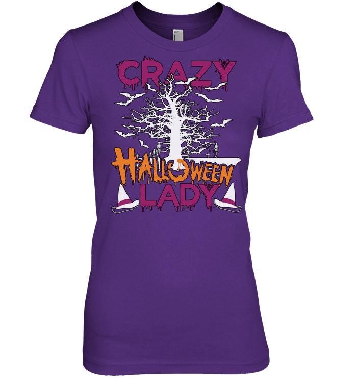 Funny Halloween Tshirt Crazy Halloween Lady Cat Pumpkin