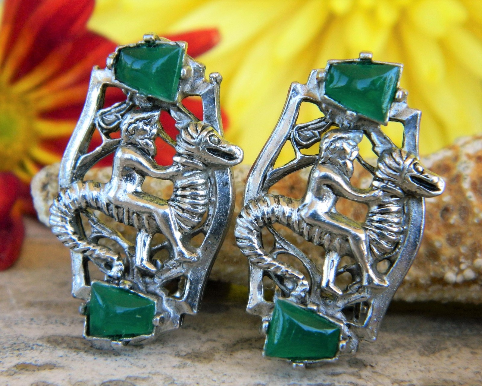 Primary image for Vintage Poseidon Neptune Riding Seahorse Green Stones Clip On Earrings