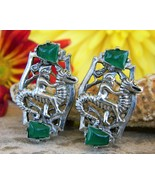 Vintage Poseidon Neptune Riding Seahorse Green Stones Clip On Earrings - $39.95