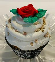 Fake Cupcake Marzipan Vanilla Red Rose Cupcake- fake home decoration prop - $8.41