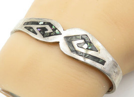 MEXICO 925 Silver - Vintage Abalone Shell Patterned Cuff Bracelet - B6556 - $65.51
