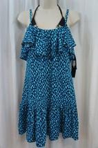 DKNY Swim Cover Up Sz M Current Blue Multi Convertible Garment Swimcover... - $61.64