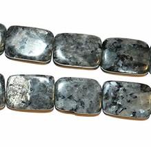 "Norwegian Labradorite 25mm Flat Rectangle Larvikite Gemstone Beads 15"" - $29.70"