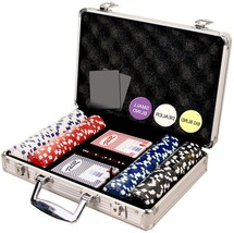 Dice Striped Poker Playing Traveling Chip Set Cards Weight Portable Casi... - $39.59