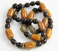 "26"" ESTATE VINTAGE Jewelry BOHO CHIC TRIBAL METAL COPAL & WOOD BEAD NECK... - $85.00"