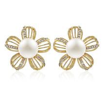 Flower Shape Earrings Gold Plating Luxury Jewelry for Women Paved AAA+Zi... - $15.67