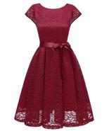 Burgundy Lace Caped Sleeve Short Bridesmaid Dress Plus Size Women Party ... - $35.22