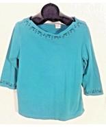 DELORES BELL WOMEN'S MEDIUM TURQUOISE BLUE SHIRT V1 - $5.00