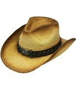 Henschel Raffia Aussie Cowgirl Hat Laced Tie Back Band Oval Concho Natu... - $43.00