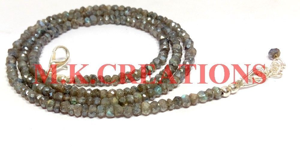 """Sterling Silver Silverite Labradorite 3-4mm Beads Beaded Chain 18"""" Fine Necklace"""