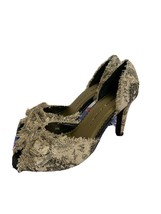 Chinese Laundry March canvas size 7.5 peep toe pumps leather outsole sti... - $19.95