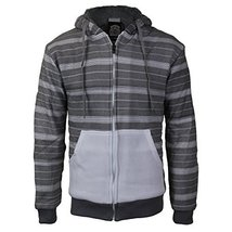 vkwear Men's Two Tone Sherpa Lined Fleece Zip Up Hoodie (Large, White/Heather)