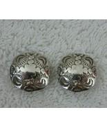 Vintage 70s 80s Hand Hammered Engraved Sterling Silver Round Domed Stud ... - $49.45