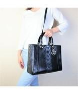 $11,800 Christian Dior Limited Edition Black Large Python Lady Dior Shoulder Bag - $2,511.60