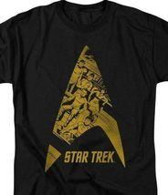 Star Trek T-shirt animated star fleet emblem retro graphic black tee CBS1476 image 3